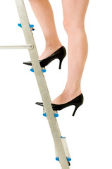 Legs on step ladder