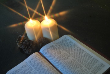 Christmas Festive Church Christian Bible Reading By Candlelight