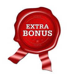 Extra Bonus, siegel, button, wachs