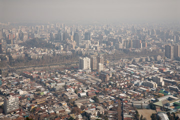 smog over Santiago, Chile, view from Cerro San Cristobal