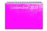 pink color calendar as white isolate background