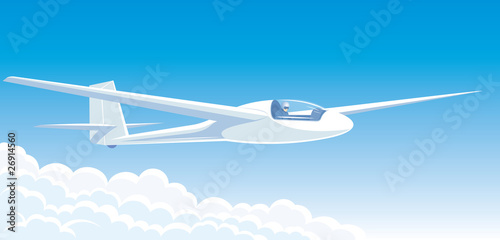 Vector illustration white sailplane flying above the clouds