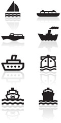 Boat symbol vector illustration set.