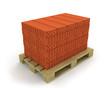 Stack of orange bricks on pallet,diagonal view