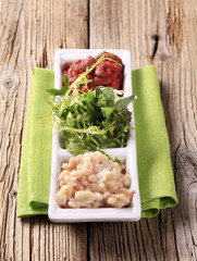Bean salads and greens
