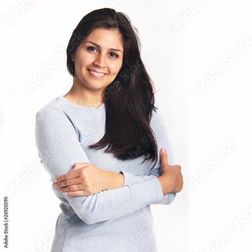 Young woman smiling portrait isolated on white background