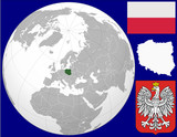 Fototapety Poland globe map locator world flag coat