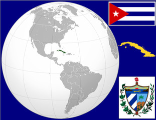 Cuba globe map locator world flag coat