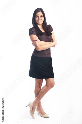 Attractive young woman full body portrait isolated