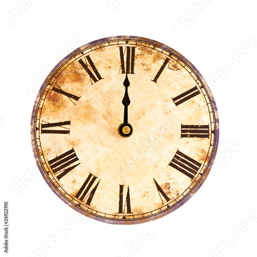 vintage clock on white background - 26922910