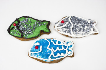 Three fish gingerbread cookies