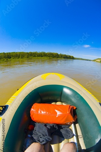 Inflatable Boat, North Saskatchewan River, Alberta,Canada