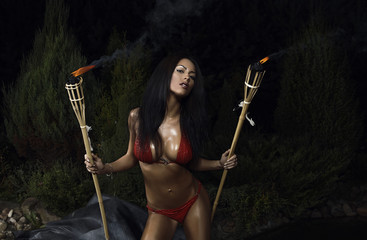 Beautiful healthy fit woman wearing red bikini.