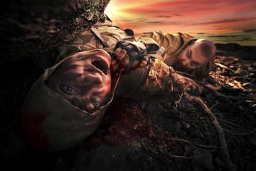 Soldier's dead body