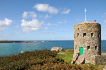 Martello Tower on coast at L'Ancresse Bay, Guernsey
