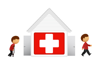 Vector illustration of medical house with patient