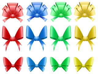 Vector set of colored decoration bows