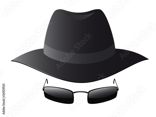 Vector illustration of black sun glasses and spy hat