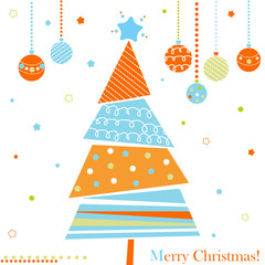 Christmas tree with ornaments, xmas card