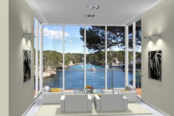 3D Rendering Wohnzimmer im Erker