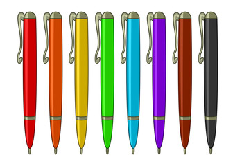 Set of multicoloured pens