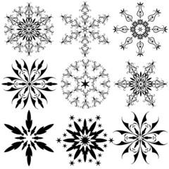 Set of vintage snowflakes