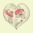 Retro floral heart