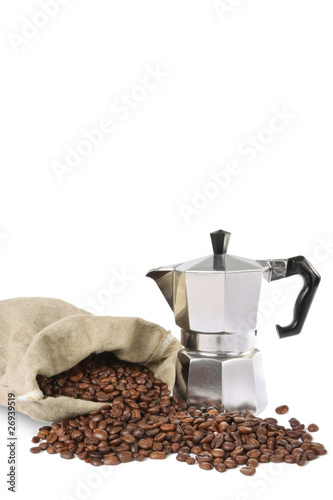 Espresso pot with coffee beans
