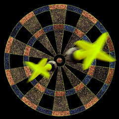 target with two yellow darts moving to the center