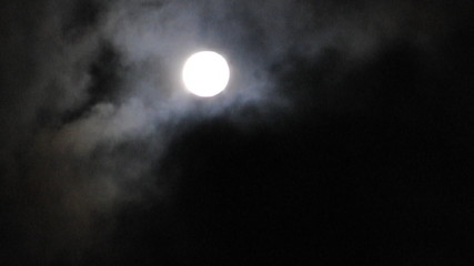 Moon at cloudy sky