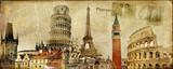 Fototapety vintage postal card - ruropean holidays