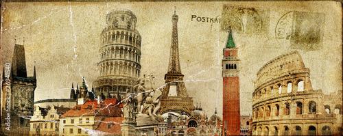 vintage postal card - ruropean holidays