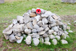 Remebrance Day Stone Cairn with Red Poppy Emblem
