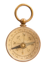 Antique Worn and Faded Old Brass Compass Close Up Isolated on Wh