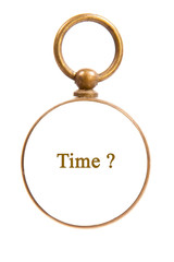 Antique Old Brass Pocket Watch with Time Concept Isolated on Whi