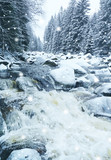 wild river in winter time