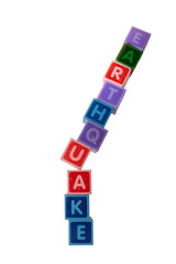 earthquake in block letters