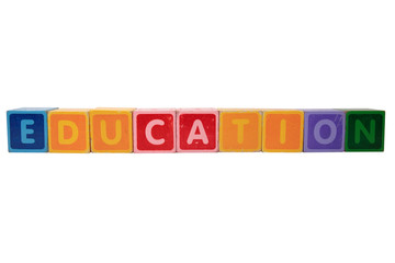 education in toy block letters