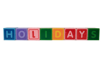 holidays in toy block letters