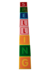 spelling in wooden block letters
