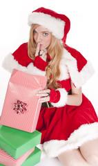 Mrs Santa open gift shhh
