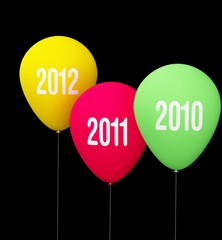Three celebrative baloon of year