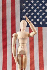 Saluting Wooden Art Doll