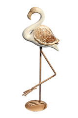 Pink metal flamingo with clipping path on white background.