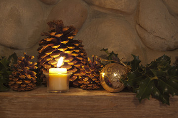 Christmas decoration on fireplace mantle