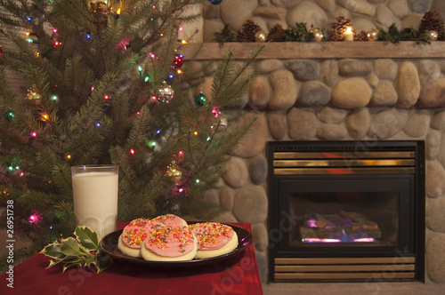 Christmas Scene with Cookies and Milk