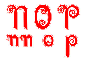 Candy Cane Swirl Letters NnOoPp