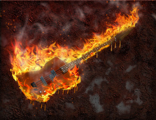 High Resolution Flaming melting guitar