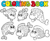 Fototapety Coloring book with crazy fishes