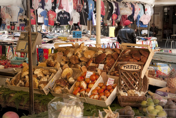Funghi al mercato di Campo dei Fiori a Roma